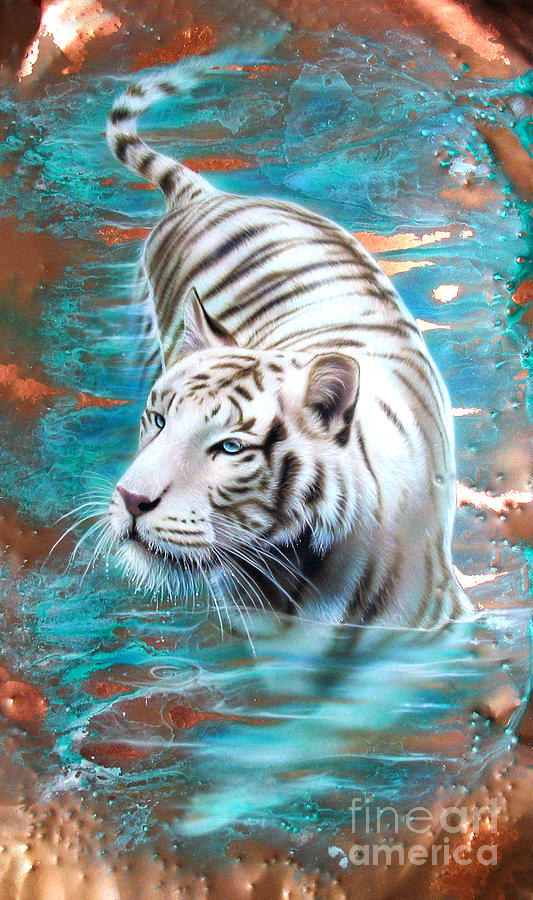 Copper White Tiger Painting by Sandi Baker