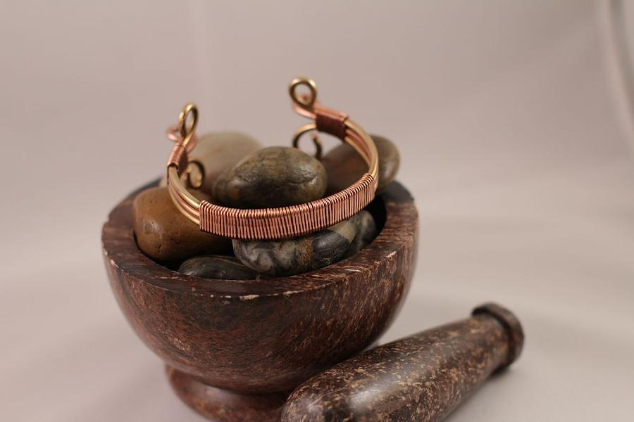 Copper Wrapped Brass Cuff Bracelet Jewelry  - Copper Wrapped Brass Cuff Bracelet Fine Art Print