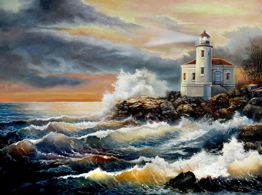 Coquille Lighthouse On The Oregon Coast  Painting