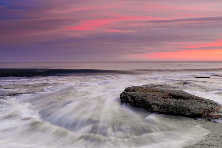 Coquina Rocks Washed By Ocean Waves At Colorful Sunset Photograph