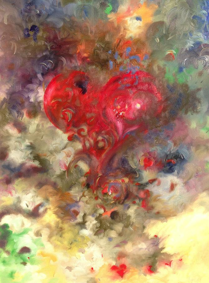 Oil Painting Painting - Corazon by Julio Lopez