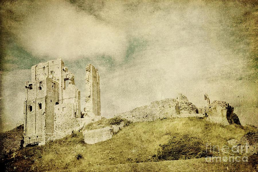 Corfe Castle Photograph - Corfe Castle - Dorset - England - Vintage Effect by Natalie Kinnear