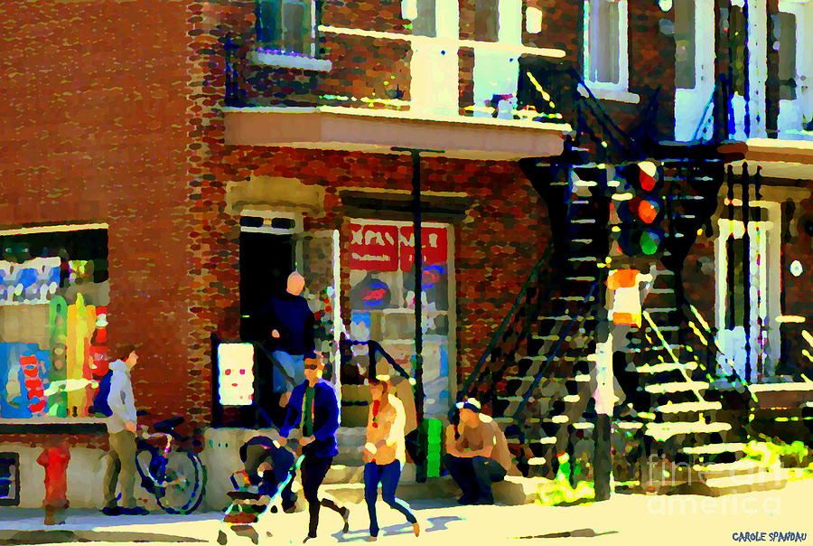 Convenience Stores Painting - Corner Laurier Marche Maboule Depanneur Summer Stroll With Baby Carriage Montreal Street Scene by Carole Spandau