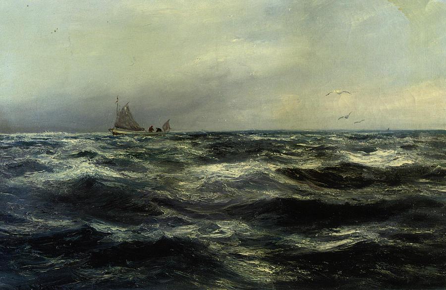 Cornish Sea And Working Boat Digital Art