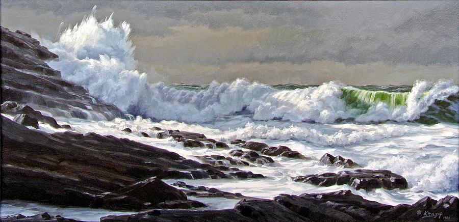 Seascape Painting - Cornwall Coast by Paul Krapf