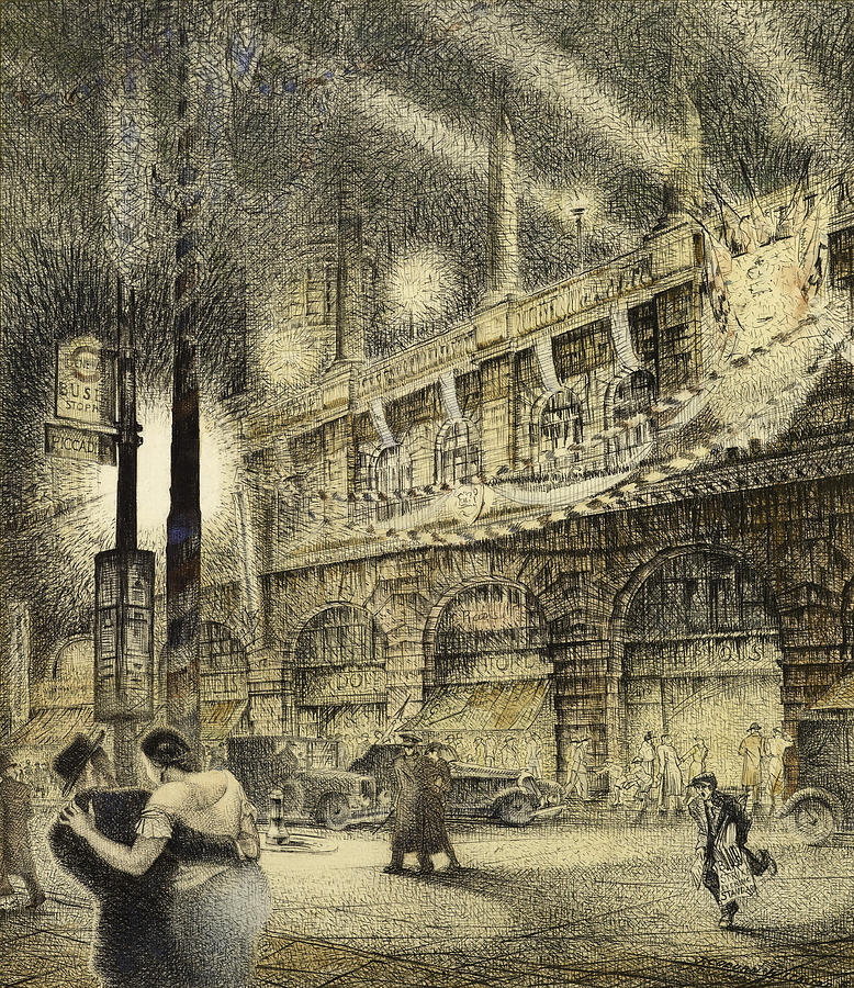 Coronation Evening London 1937 Painting