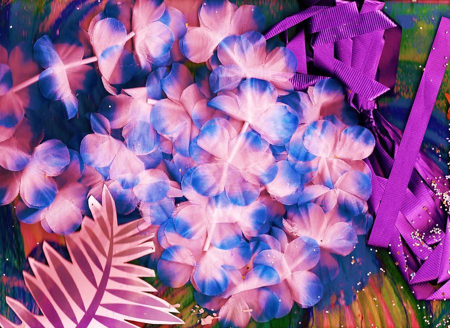 Purple Mixed Media - Corsage Collage Montage by Anne-Elizabeth Whiteway