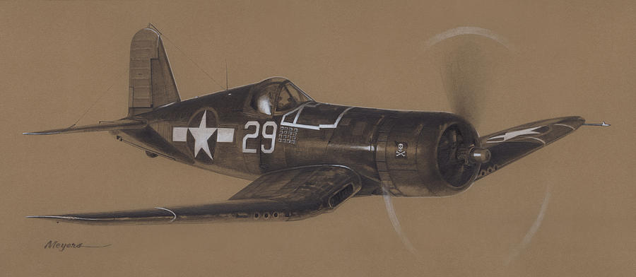 Corsair Triple Ace Drawing  - Corsair Triple Ace Fine Art Print