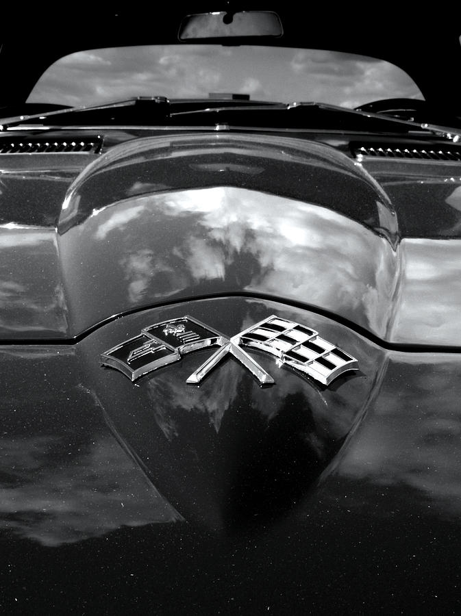Corvette In Black And White Photograph  - Corvette In Black And White Fine Art Print