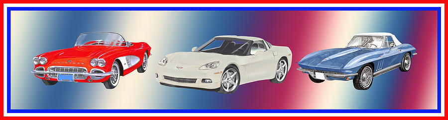 Corvettes In Red White And True Blue Painting