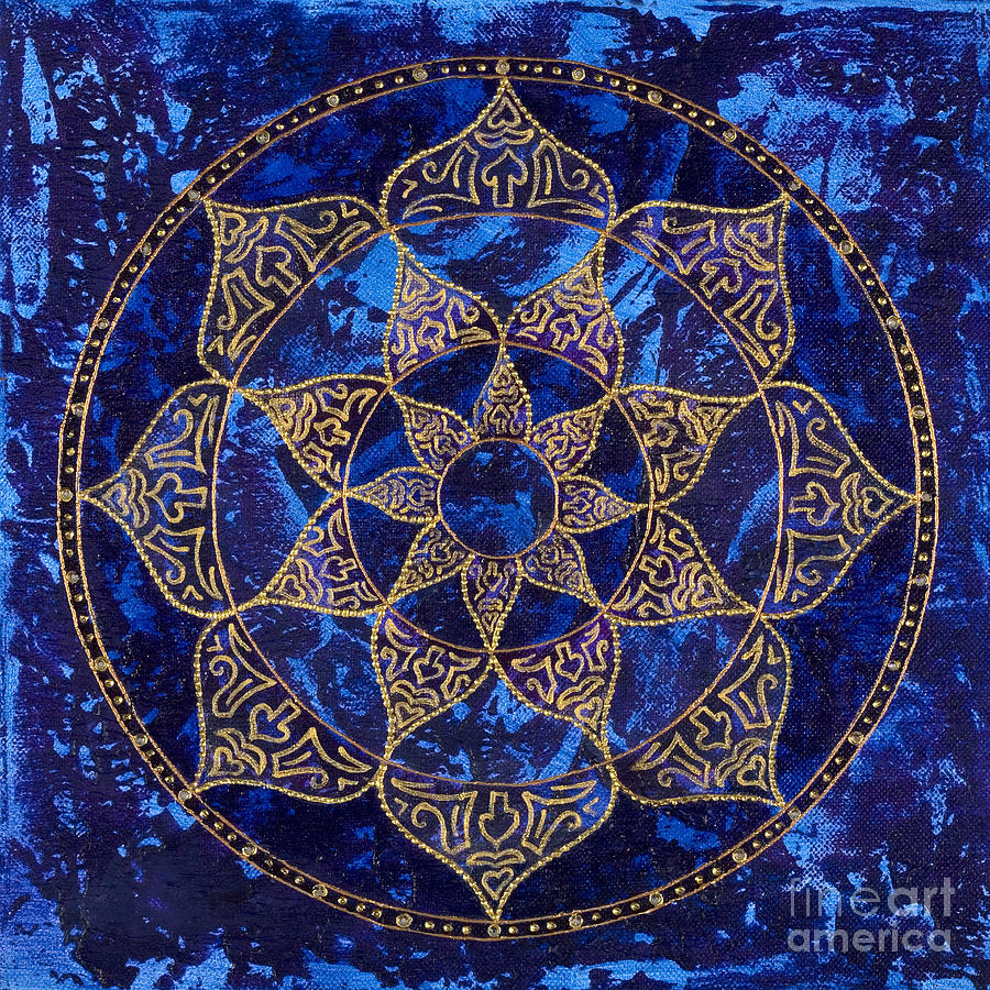 Cosmic Blue Lotus Painting  - Cosmic Blue Lotus Fine Art Print