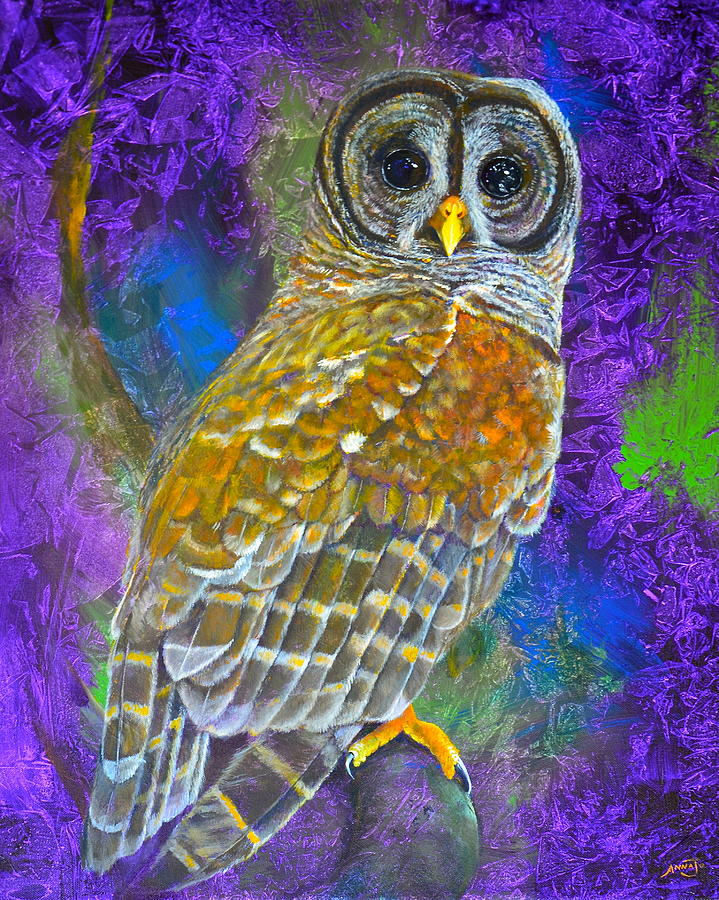 Barred Owl Painting - Cosmic Owl by AnnaJo Vahle