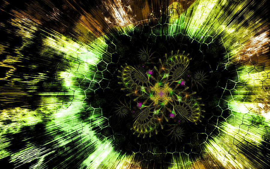 Cosmic Solar Flower Fern Flare Digital Art