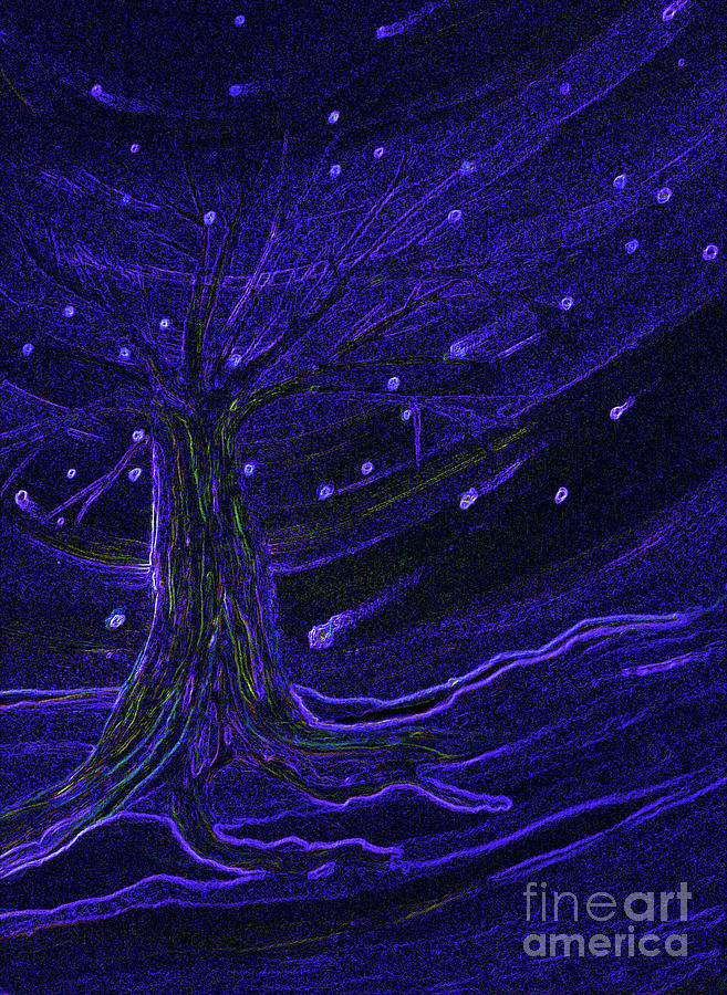 First Star Painting - Cosmic Tree Blue by First Star Art