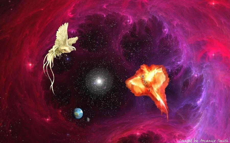 White Dove Digital Art - Cosmic Union by Arcanico Luca Smith Acquaviva