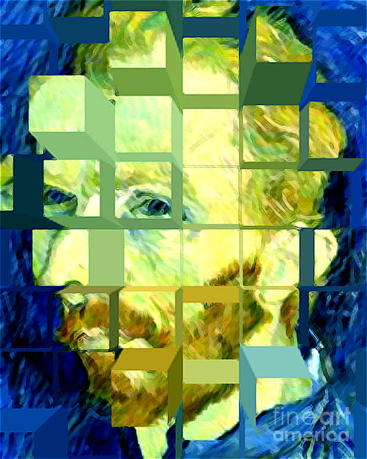 Cosmic Van Gogh Portrait Digital Art