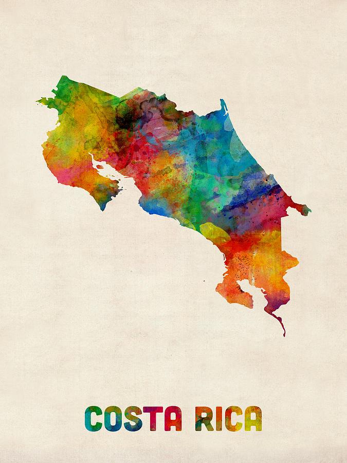 Costa Rica Watercolor Map Digital Art