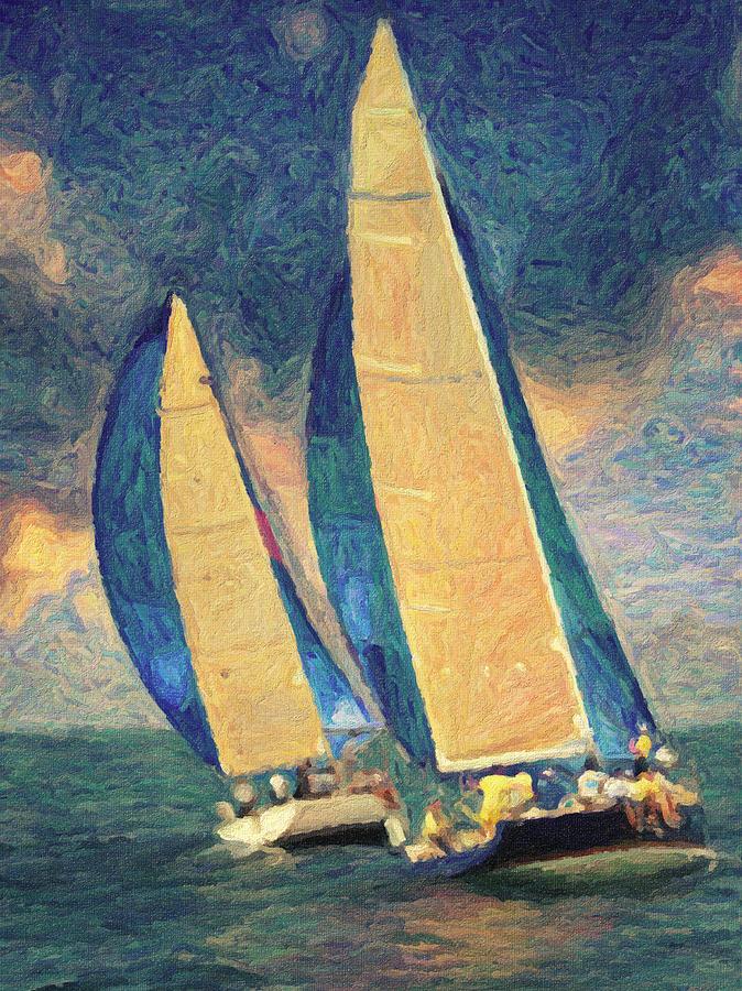 Oil Painting Painting - Costa Smeralda by Taylan Apukovska