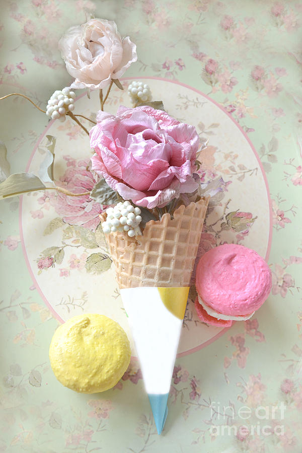 Cottage Floral Pink And Yellow Macarons And Waffle Cone Floral And Food Photography Photograph