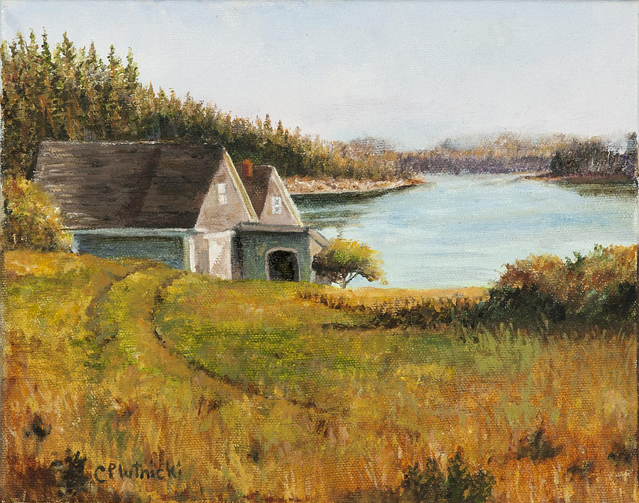Seascape Painting - Cottage Glow by Cindy Plutnicki