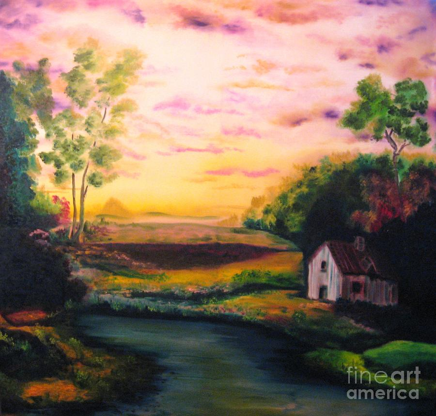 Cottage In The Evening Painting
