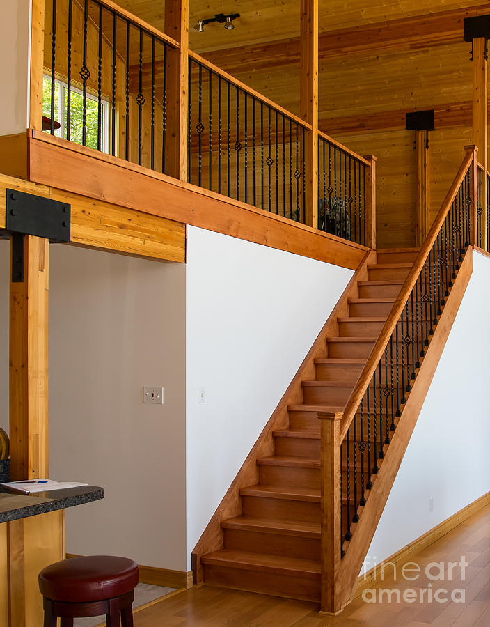 Cottage interior with wooden staircase leading to the loft photograph by les palenik - Loft house plans inside staircase ...