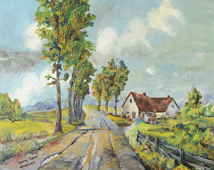 Cottage On Poplar Lane Painting