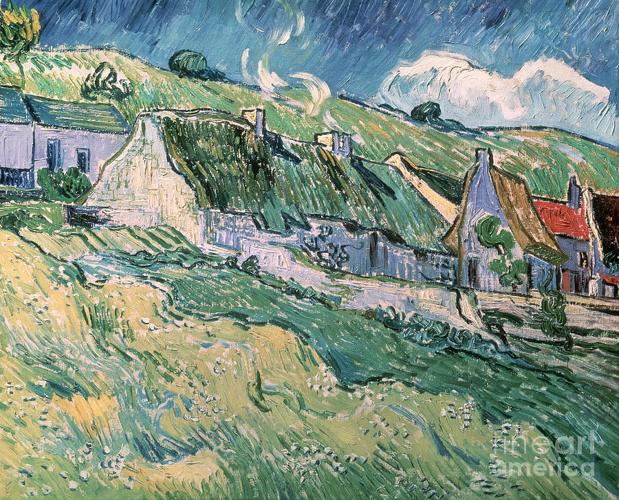 Cottages At Auvers Sur Oise Painting