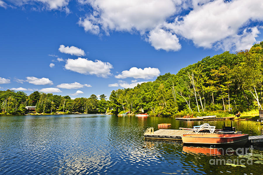 Cottages On Lake With Docks Photograph