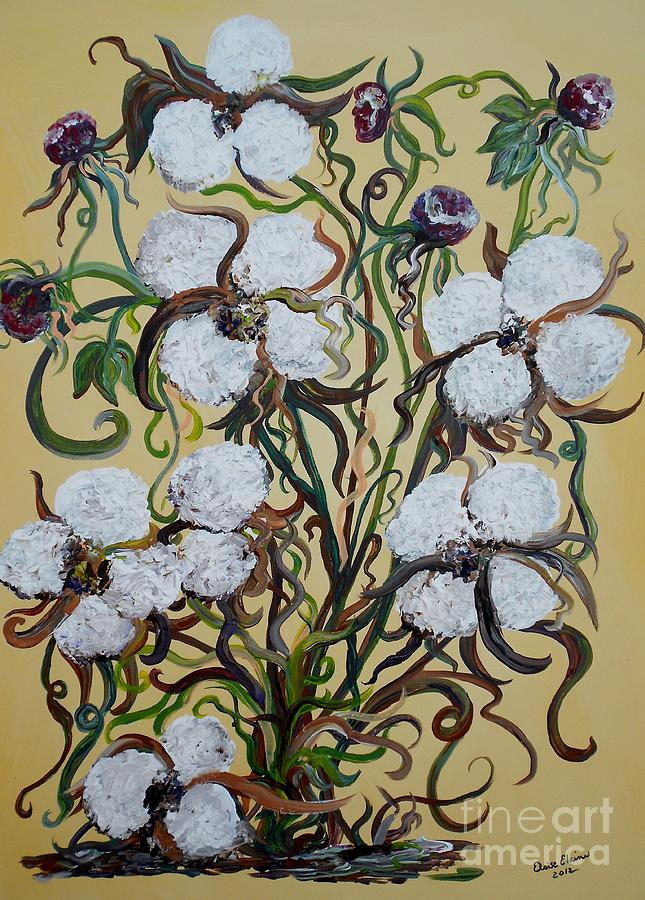 Cotton #2 - Cotton Bolls Painting