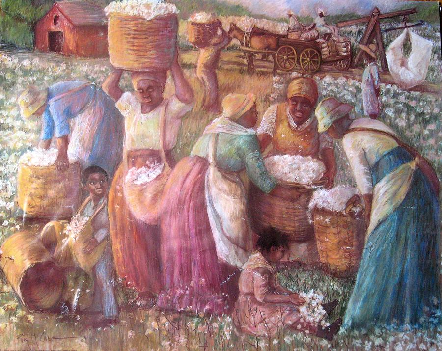 Slaves In Cotton Field African American Slaves Picking Cotton Pastel - Cotton Fields by Pamela Mccabe