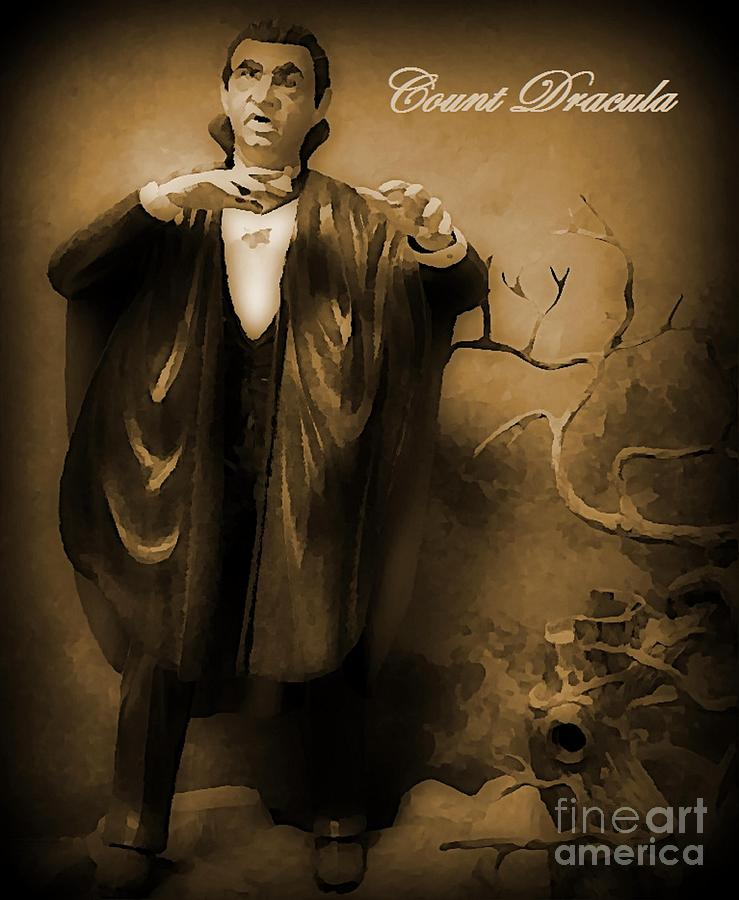 Count Dracula In Sepia Painting  - Count Dracula In Sepia Fine Art Print