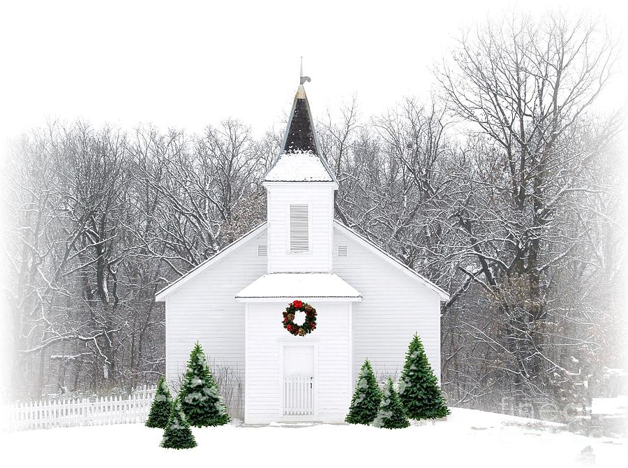 Country Christmas Church Photograph  - Country Christmas Church Fine Art Print