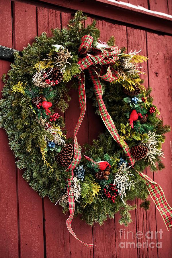 Country Christmas Wreath Photograph