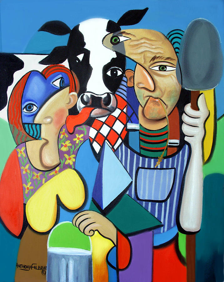 Country Cubism Painting  - Country Cubism Fine Art Print