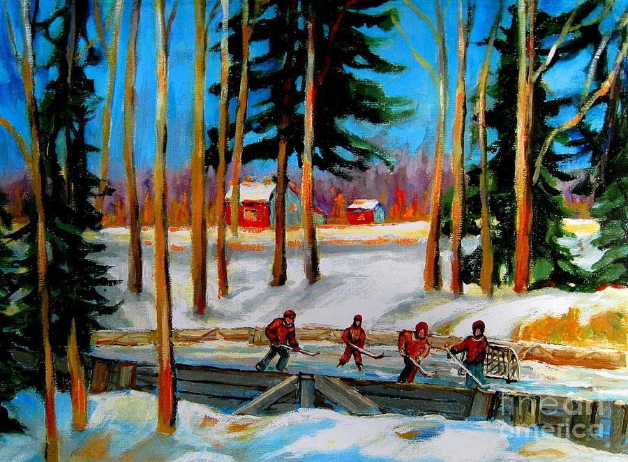 Country Hockey Rink Painting  - Country Hockey Rink Fine Art Print