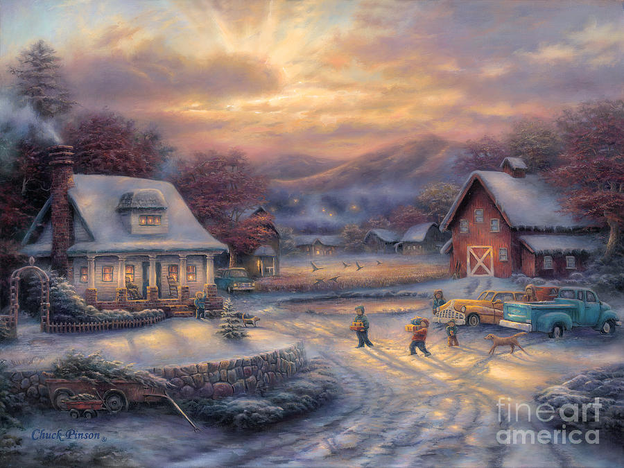 Classic Cars Painting - Country Holidays by Chuck Pinson