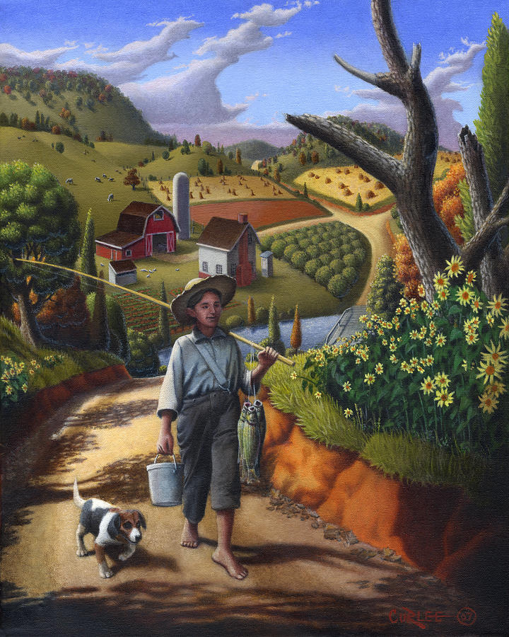 Country Landscape Folk Art Fish Supper Boy Walking Dog Americana American Scene Rural Oil Painting Painting  - Country Landscape Folk Art Fish Supper Boy Walking Dog Americana American Scene Rural Oil Painting Fine Art Print