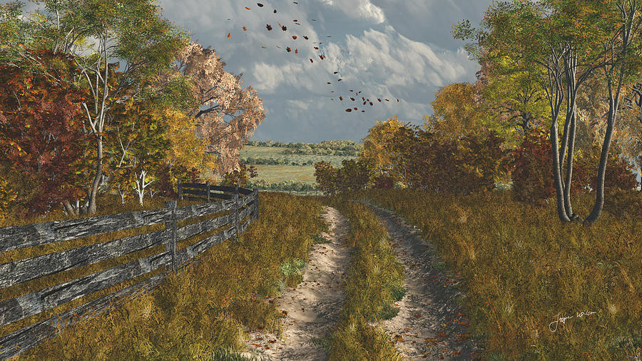 Country Lane In Fall Digital Art  - Country Lane In Fall Fine Art Print