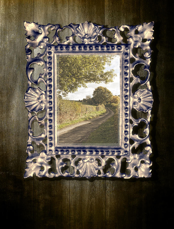 Country Lane Reflected In Mirror Photograph