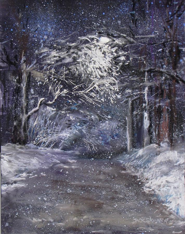 Country Road On A Wintery Night Painting
