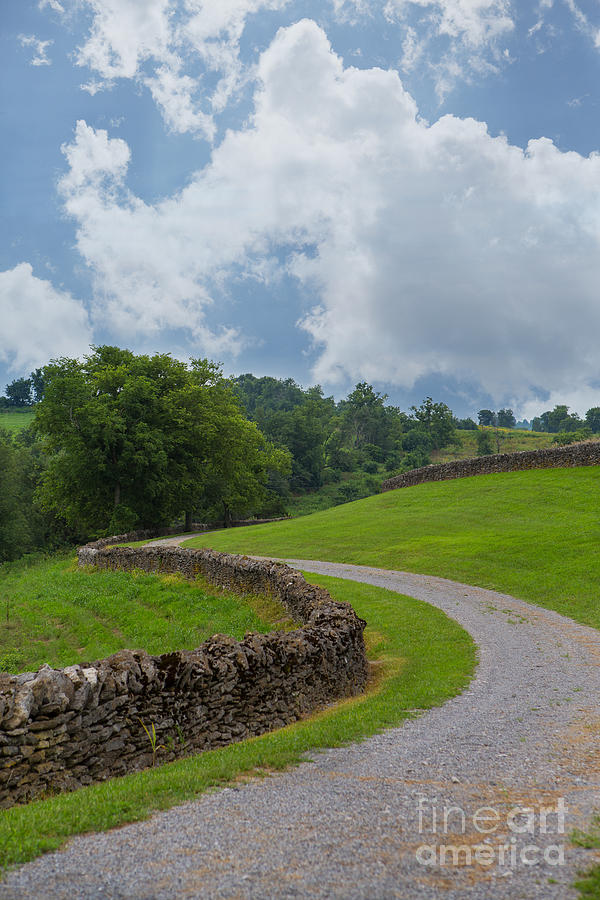 Country Road With Limestone Fence Photograph