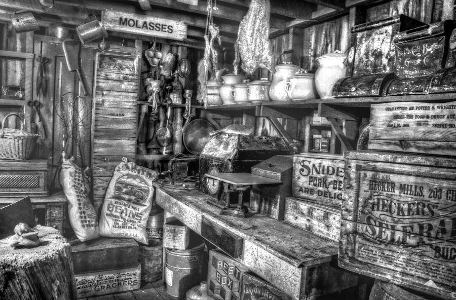 Country Store Supplies Black And White Photograph