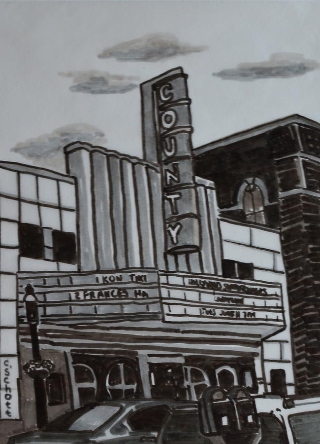 County Theater Drawing  - County Theater Fine Art Print