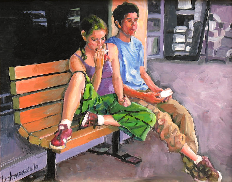 Couple Eating A Snack Painting  - Couple Eating A Snack Fine Art Print