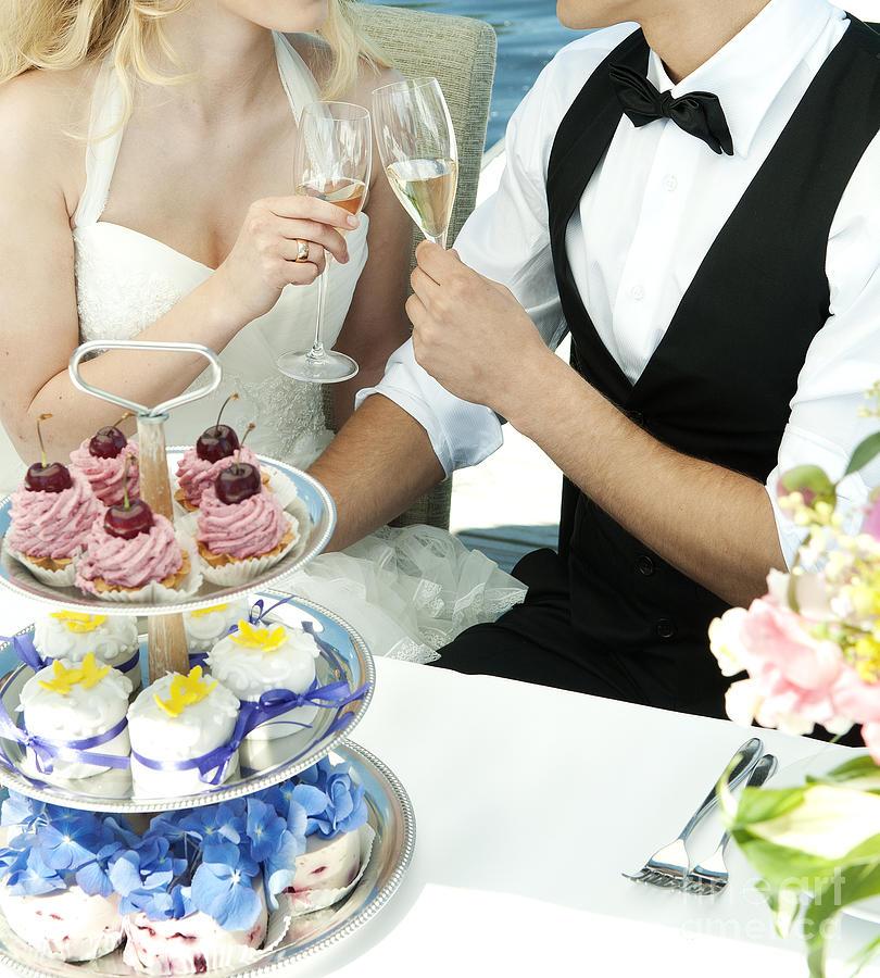 Wedding Photograph - Couple Toasting At Wedding by Jacek Malipan