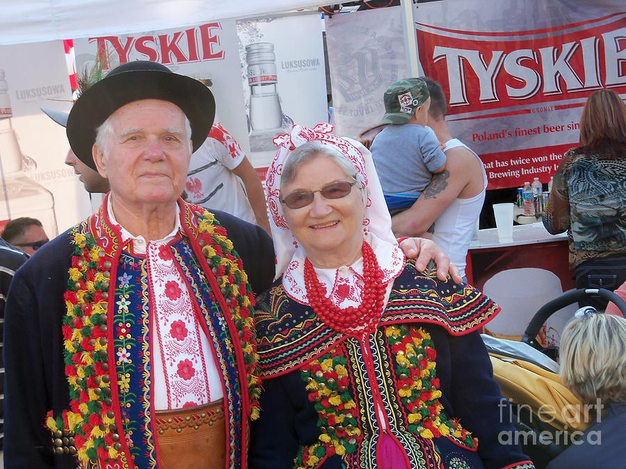 Couples In Polish National Costumes Photograph