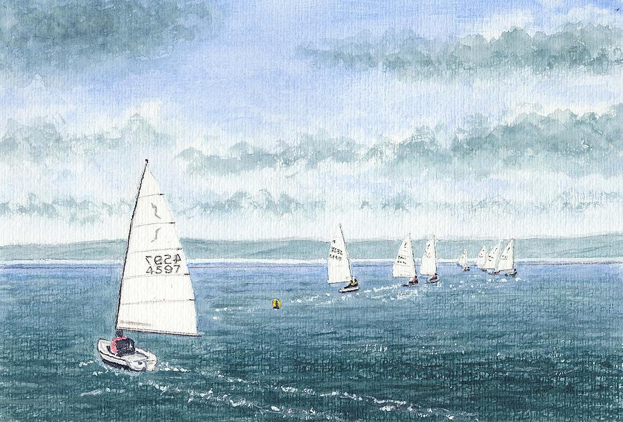 course To Steer - Storm Approaching - West Kirby Marine Lake Painting  - course To Steer - Storm Approaching - West Kirby Marine Lake Fine Art Print