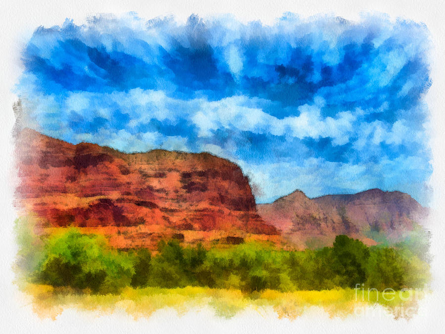 Courthouse Butte Sedona Arizona Digital Art