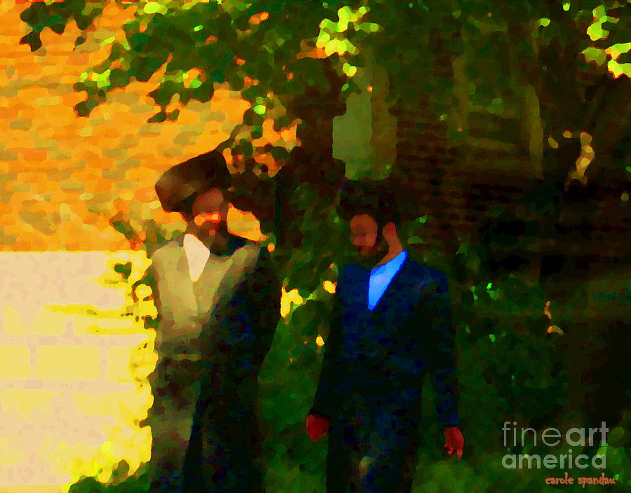 Covenant Conversation Two Men Of God Hasidic Community Montreal City Scene Rabbinical Art Carole Spa Painting